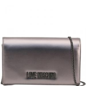 Love Moschino Metallic Grey Faux Leather Clutch Bag