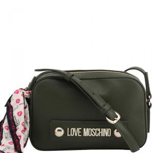 Love Moschino Dark Green Faux Leather Scarf Crossbody Bag