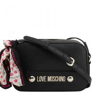 Love Moschino Black Faux Leather Scarf Crossbody Bag