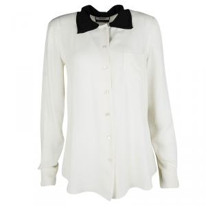 Moschino Cream Silk Contrast Bow Collar Detail Long Sleeve Shirt M