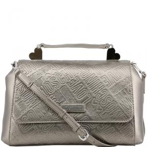 Love Moschino Grey Embossed Logo Leather Top Handle Satchel Bag