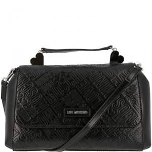 Love Moschino Black Embossed Logo Leather Top Handle Satchel Bag