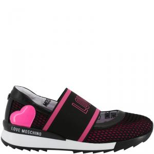 Love Moschino Black/Pink Faux Perforated Slip On Sneakers Size 40