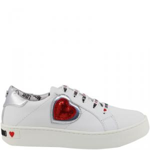 Love Moschino White Faux Leather Platform Sneakers Size 38