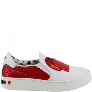 Love Moschino White/Red Faux Leather and Sequins Slip On Sneakers Size 38