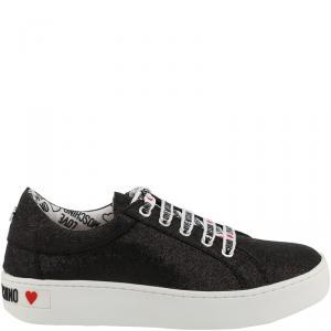 Love Moschino Black Fabric Platform Sneakers Size 37