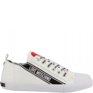 Love Moschino White Faux Leather Lace Up Sneakers Size 35
