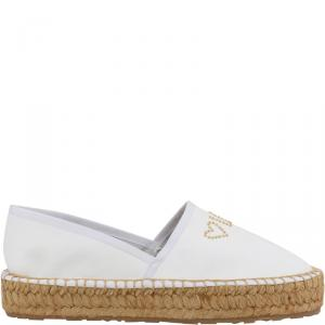 Love Moschino White Faux Leather Platform Espadrilles Size 41