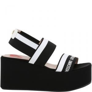 Love Moschino Black Fabric Ankle Strap Platform Wedge Sandals Size 41