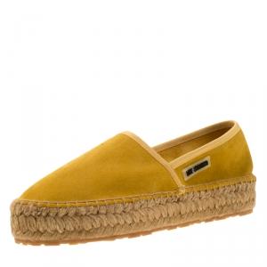 Love Moschino Mustard Yellow Suede Platform Espadrilles Size 37