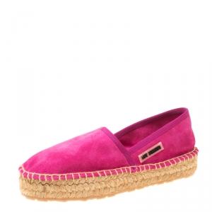 Love Moschino Pink Suede Platform Espadrilles Size 36