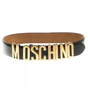 Moschino Glossy Black Leather Redwall Logo Belt 100cm