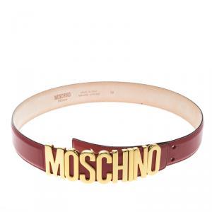 Moschino Red Leather Logo Belt 90 CM