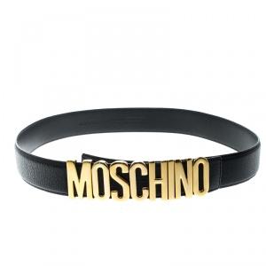 Moschino Black Grain Leather Logo Belt 115cm