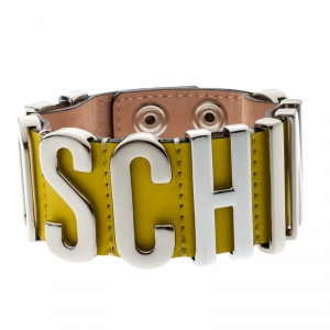 Moschino Silver Tone Logo Plaque Yellow Leather Cuff Bracelet