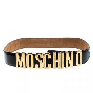 Moschino Glossy Black Leather Redwall Logo Belt 85cm