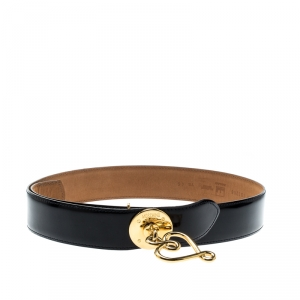 Moschino Black Redwall Leather Heart Buckle Belt 102CM