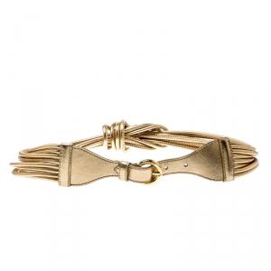 Moschino Gold Metallic Mutli Strand Leather Belt 85CM