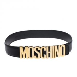 Moschino Black Leather Classic Logo Belt 85CM