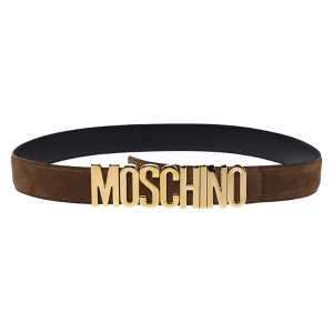 Moschino Brown Suede Logo Belt 95CM