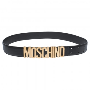 Moschino Black Leather Logo Belt 90CM