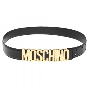 Moschino Black Leather Classic Logo Belt 80 CM