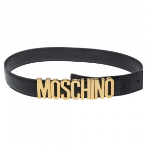 Moschino Black Leather Classic Logo Belt 75CM