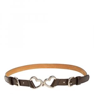 Moschino Metallic Brown Leather Heart Buckle Belt