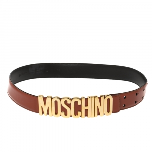 Moschino Orange Leather Classic Logo Belt 85CM