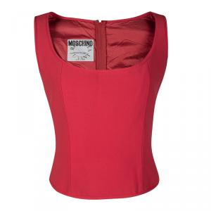 Moschino Couture Repetita Juvant Red Sleeveless Top L