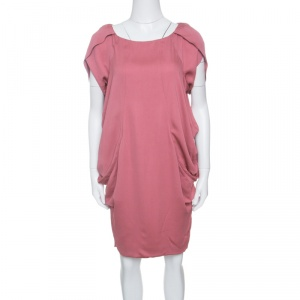 Moschino Pink Draped Side Cowl Detail Short Sleeve Dress S used