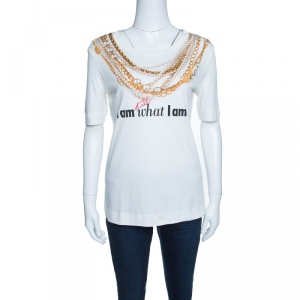 Moschino 30th Anniversary Off White Necklace and Slogan Print Cotton T-Shirt S