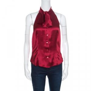 Moschino Maroon Silk Tie Front Buttoned Halter Top M
