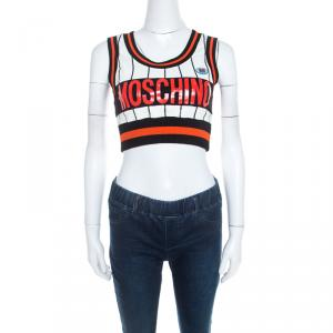 Moschino Couture Multicolor Striped Cotton Blend Ribbed Trim Crop Top S