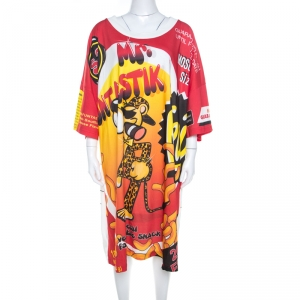 Moschino Couture Multicolor Mr.Funtastik Printed Cotton Oversized T-Shirt Dress M - used