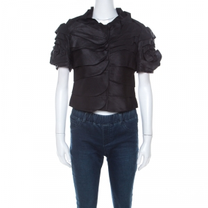 Moschino Black Ruffle Satin Crepe Short Sleeve Blouse  S