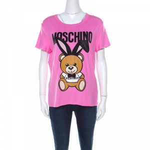 Moschino Pink Teddy Bear Printed & Embroidered Jersey T-shirt L