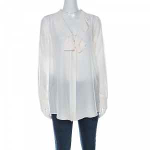 Moschino Cream Silk Crepe de Chine Bow Detail Long Sleeve Blouse M