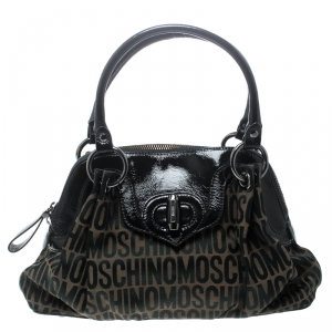 Moschino Dark Brown Signature Canvas and Patent Leather Satchel
