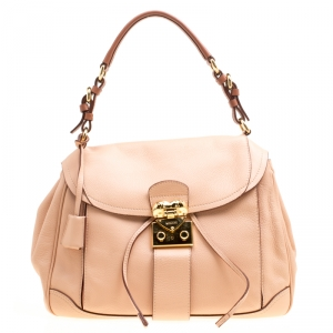 Moschino Beige Leather Hidden Lock Satchel