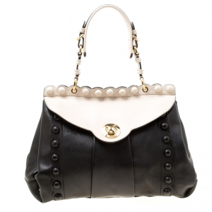 Moschino Black/Beige Leather Satchel