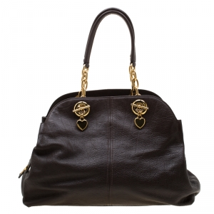 Moschino Dark Brown Leather Chain Satchel