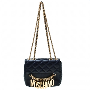 Moschino Navy Blue Quilted Leather Flap Shoulder Bag