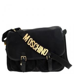 Moschino Black Nylon Messenger Bag