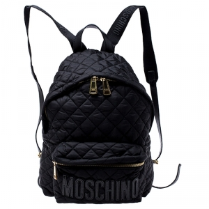 Moschino Black Nylon Quilted Backpack