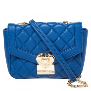 Love Moschino Blue Quilted Heart Clasp Shoulder Bag