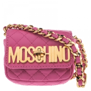 Moschino Pink Quilted Leather Mini Belt Bag