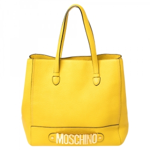 Moschino Yellow Leather Shopper Tote