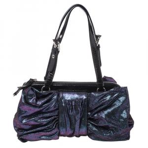 Moschino Holographic Iridescent Leather Satchel