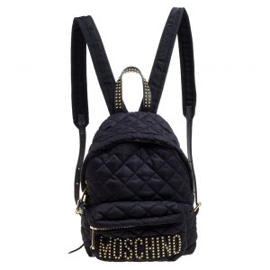 Moschino Black Nylon Quilted Logo Studded Backpack